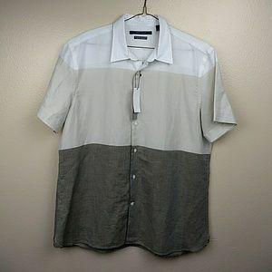 Perry Ellis Extra Fine Linen Short Sleeve Shirt